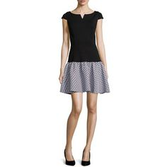 ERIN erin fetherston Women's Blair Dropped-Waist Ponte Dress - Black/Ivory (0)