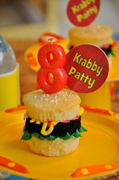 This SpongeBob birthday party has delicious Krabby Patty upcakes