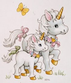 Unicorn and Baby Unicorn Crafts, Unicorn Art, Rainbow Unicorn, Unicorn Pictures, Unicorns And Mermaids, Cute Clipart, Illustration, Unicorn Birthday, Fabric Painting
