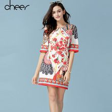 2016 Summer Style Women Brand Vintage Hand Fan Pattern Floral Print Mini T Shirt Shift Dress European Style(China (Mainland))