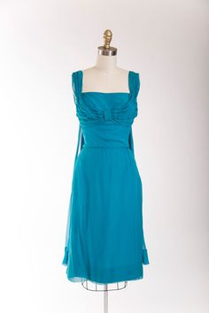 1950s Vintage Dress Teal Blue Silk Chiffon by stutterinmama