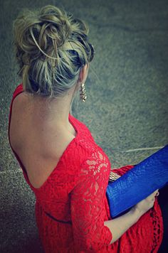 Red lace with a top bun!