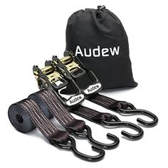 From 23.11 Audew 2 Pack Heavy-duty Ratchet Tie-downs Set 35mm X 2.4m Truck Tie Downs Motorbike Tie Down Straps For Household Goods Atv Snowmobile Dirt Bike Boats & Truck Cargo