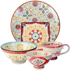 Global Handpainted Dinnerware Collection in Cream/Red/Multi - BedBathandBeyond.com