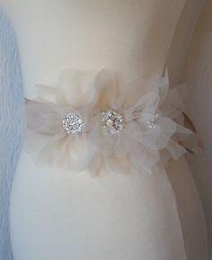Blush Champagne Bridal Sash Bridal Belt Wedding by TheRedMagnolia, $96.00 @Armana Christianson
