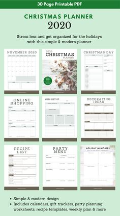 Get rid of the stress and get organized for the holidays this year with this 30-page 2020 printable Christmas Planner. Download, save and print. #Christmas #printable #planner #organizer #christmasplanning