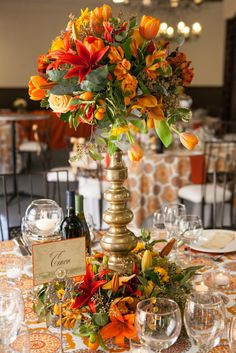 Tall wedding yellow, golds, and amber centerpieces by EV Floral Design. Spanish Inspired Styled Wedding by Barbara Jacqueline Photography | Two Bright Lights :: Blog
