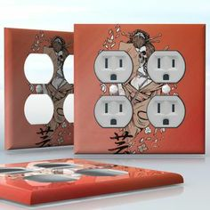 DIY Do It Yourself Home Decor - Easy to apply wall plate wraps   Skeleton Geisha Horror Japanese image wallplate skin sticker for 2 Gang Wall Socket Duplex Receptacle   On SALE now only $4.95
