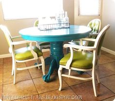 Colorful table and chairs.
