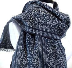 Hmong Scarf Tribal Scarf Indigo Scarf Blue Batik by MiriTextiles, $25.00