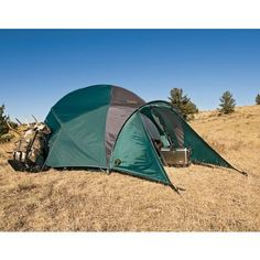 Cabelas Alaskan Guide 8 Man Tent - Used when base camping - this tent lets us keep camping when the weather turns bad. No more bent poles or going home days early from our trips. This video convinced me to buy this tent - http://www.youtube.com/watch?v=PylrnSDprIM