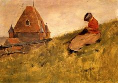 """Theodore Robinson (1852-1896) On the Cliff: A Girl Sewing Oil on panel 1887 31.2 x 22.8 cm (12.28"""" x 8.98"""")"""