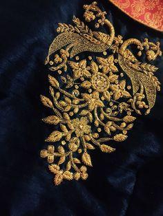 Renovate your Wardrobe, We provide customization in Designer Blouses & women ethnic wear. that reflect Amazing Handwork & Unique Zardosi Art at Your Budget & time, Worldwide Delivery. Zardosi Embroidery, Hand Work Embroidery, Embroidery Suits, Indian Embroidery, Gold Embroidery, Hand Embroidery Designs, Bullion Embroidery, Blouse Designs Silk, Bridal Blouse Designs