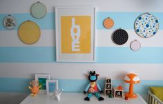 """I """"love"""" the picture for my gray/yellow theme, and also the fabric hung as an idea for a nursery"""