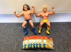 Vintage 1984 Hulk Hogan and Andre The Giant Action Figure + 8 1987 Topps Packs #LJNTitanSports