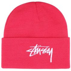 Stussy Men Embroidered Logo Beanie Hat ($35) ❤ liked on Polyvore featuring men's fashion, men's accessories, men's hats, pink, mens beanie hats, mens beanie caps, mens pink beanie and mens beanie