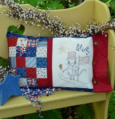 Liberty patchwork pillow cat embroidery pattern #329 | Shirley ...