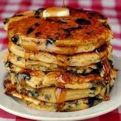 Blueberry Lemon and Cornmeal Pancakes