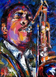 Jazz art, jazz painting, John Coltrane by Debra Hurd -- Debra Hurd