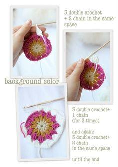 circle in a square crochet granny square