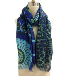 Navy Multi Color Mixed Pattern Scarf