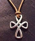 100% AUTHENTIC JAMES AVERY 925Silver Cross Leather Cord Necklace w Box FREE SHIP - Designer Jewelry Galleria