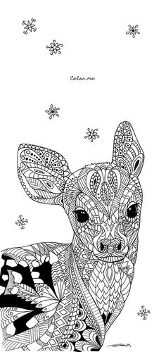 This years cover of my christmas greetings card / Weihnachtskarte Christmas Greeting Cards, Christmas Greetings, Colouring Pages, Zentangle, Deer, Animales, Colors, Xmas Cards, Quote Coloring Pages