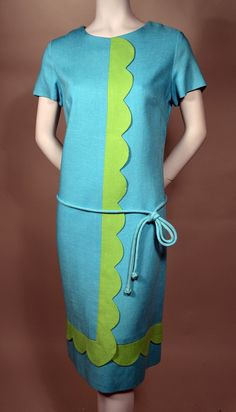 ADORABLE MOD TURQUOISE SHIFT WITH APPLE GREEN SCALLOP - ALL ORIGINAL 60's VINTAGE DRESS - PAT BRADLEY.  Available for sale at rpvintage.com