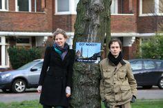 Protestactie tegen bomenkap in Den Haag