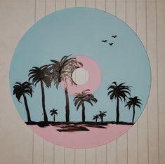 Record Wall Art, Cd Wall Art, Cd Art, Cute Canvas Paintings, Small Canvas Art, Mini Canvas Art, Hippie Painting, Aesthetic Painting, Vinyl Art