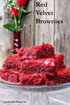 red velvet brownies - combine red velvet cake mix, 1/2 cup melted butter, 1/4 cup brown sugar, and 2 eggs then bake for 25-30 minutes at 375.