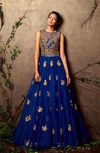 Blue gown with golden work replica by Shyamal and Bhumika