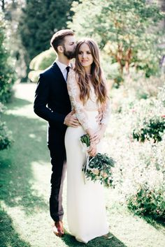 Fashionable bohemian bride + groom: http://www.stylemepretty.com/2015/11/17/fashionable-english-garden-wedding-at-barnsley-house/ | Photography: M and J Photos - http://www.mandjphotos.com/#photo-4453
