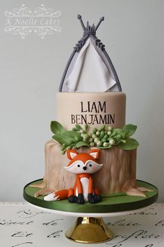 Woodland Creatures Baby Shower Cake by K Noelle Cakes