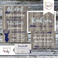 Rustic Baby Shower Suite//OH DEER Woodland Baby Shower//Invitation, Thank You Notes, Diaper Raffle, Book Request//Personalized Printable by AsterLaneDesign on Etsy https://www.etsy.com/listing/468712845/rustic-baby-shower-suiteoh-deer-woodland