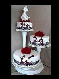 Off-set Branch Cake with red roses  really starting to like this staggered look