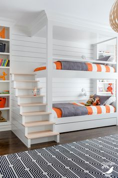 Modern Kids Room - Chango & Co. - Rumson New Modern - Bunk Room Stairs - Shiplap - Pop of Color - Woven Pendant Bunk Bed Rooms, Bunk Beds Built In, Bunk Beds With Stairs, Kids Bunk Beds, Boys Bunk Bed Room Ideas, Bed Ideas, Cool Bunk Beds, Kids Room Bed, Modern Bunk Beds