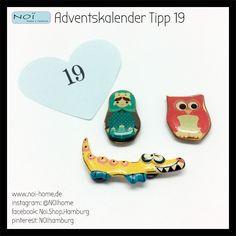 #Adventskalender #Tipp 19. Dekorative #Magnete mit lustigen Motiven. Auch ganz toll für das #Kinderzimmer. #Babuschka , #Eule und #Krokodil . Bei #NOI in der #Schanzenstrasse 81 in #Hamburg #Advent #Weihnachten