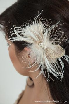 Freshwater pearl, Rhinestone, Feather Hair Piece $62.99