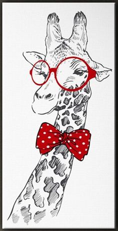 Beautiful picture of a giraffe with red round glasses and bow tie Giraffe Drawing, Giraffe Art, Cute Giraffe, Animal Drawings, Art Drawings, Animal Paintings, Tableau Pop Art, Painted Rocks, Art Projects