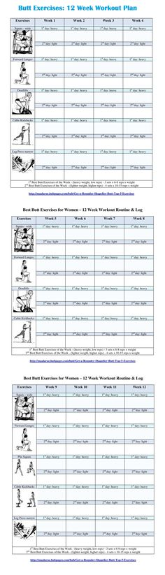 12 Week Butt Exercise Routine - Free PDF for download or print is also available at the site.