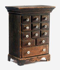 Spice box Primitive Furniture, Wood Furniture, Primitive Antiques, Furniture Design, Spice Cabinets, Old Cabinets, Small Cabinet, Small Drawers, Wood Projects