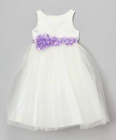 Ivory & Lavender Petal Sash Dress - Toddler & Girls by Cinderella Couture #zulily #zulilyfinds