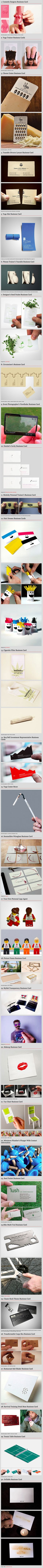 A good business card definitely won't ensure your success, but it sure can help! It can make all the difference in the first impression that you have on someone, or whether or not you leave an impression at all, so here are 30 cleverly-designed business cards that will get you thinking about how you might want to present yourself!