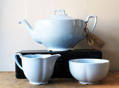 RESERVED Tea Set Blue Teapot Creamer / Milk Jug Sugar Bowl - Johnson Brothers Grey Dawn Tulip. £19.98, via Etsy.