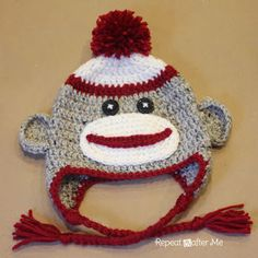 Repeat Crafter Me: Crocheted Sock Monkey Hat Free Pattern
