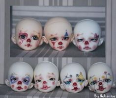Ugh I'm obsessed with cute, creepy little demon clowns. Bjd Doll, Ooak Dolls, Art Dolls, Character Inspiration, Character Design, Pierrot Clown, Circus Theme, Circus Party, Creepy Cute