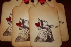 Alice In Wonderland Queen of Hearts Tags Vintage by anistadesigns, $6.50 Cute for when catering and you hand out simple party bags.