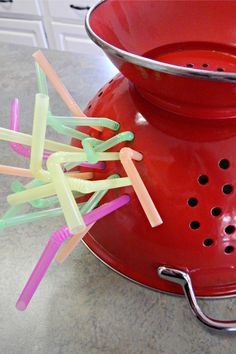 Children will develop their grip that can be used in activities such as hand writing by holding the straw with a pincer grasp and using their eyes to track the straw into the hole.