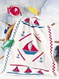 Crochet - Afghans - Assorted - Anchors Aweigh! - #FC00291